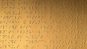 Braille Text on display at the Miami Center for Architecture and Design.