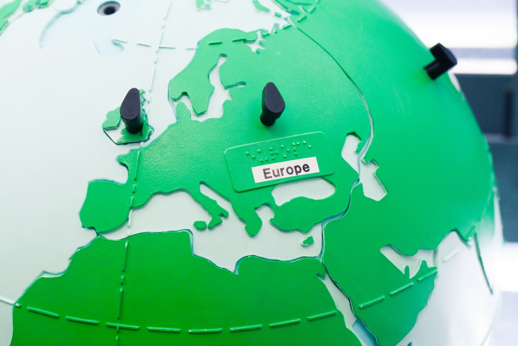 Detail of education globe for children with braille writing. Europe.